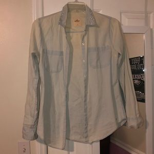 Bling collar Hollister chambray button up